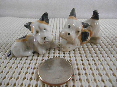 2 Miniature Wire Fox Terrier Puppy Dog Ceramic Porcelain Figurines Made in JAPAN