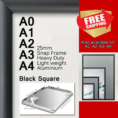 A0 A1 A2 A3 A4 PREMIUM Aluminum Snap poster frame Sign holder wall mount Black