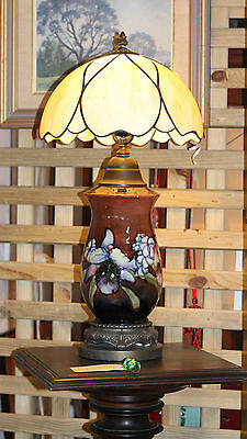 EARLY MOORCROFT FLAMBE ORCHID LAMP c.1930