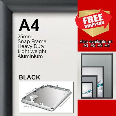 5x A4 PREMIUM Snap in poster frame Sign holder wall mount 25MM aluminum black sq
