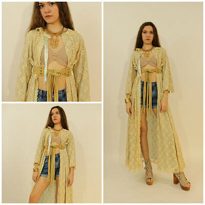 VTG 60s FLORAL Sheer LACE Overlay KIMONO Hippy Boho FESTIVAL Slip Dress Jacket