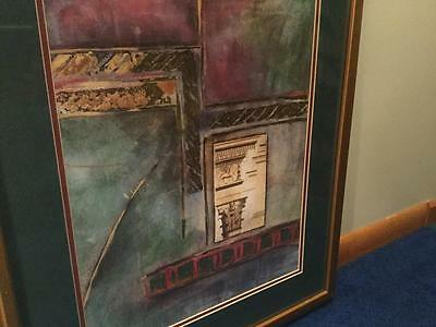 Joyce Combs Signed Foil Print Abstract& Egyptian Architecture Framed Listed Art