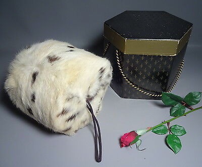 Real Ermine Fur Muff Hand Warmer Vintage c1950 w/Original Box