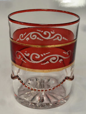 c1898 Heisey BEADED SWAG Ruby Stained EAPG Flat Tumbler Glass -NICE!