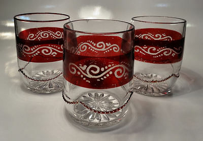 c1898 Heisey BEADED SWAG Ruby Stained EAPG Water Tumbler Glasses 3
