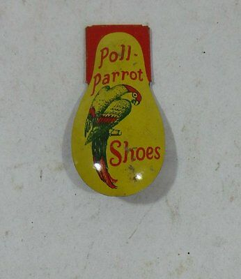 Vintage Poll Parrot Shoes Advertising Tin Toy Clicker