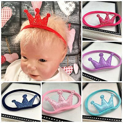Baby Girl Sequin Glitter Crown Nylon Headbands Princess Pink Blue