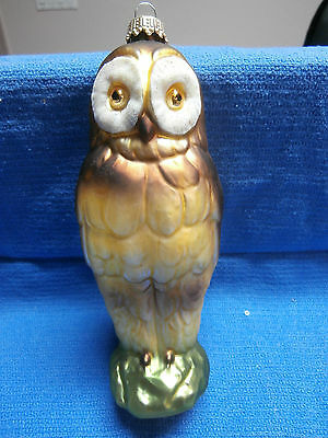 Krebs Glass Owl Christmas Ornament from Germany - New in Box