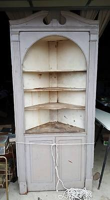 Antique Vintage Built In Corner Cabinet Cupboard Early 1900's