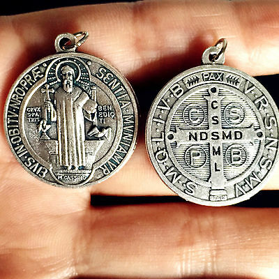 Holy Silver Catholic St.Benedict medal Rosary NECKLACE PENDANT From Italy