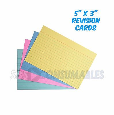 """100 Premier 5x3"""" Revision Cards Assorted Colours Lined/Ruled Record Flash Cards"""
