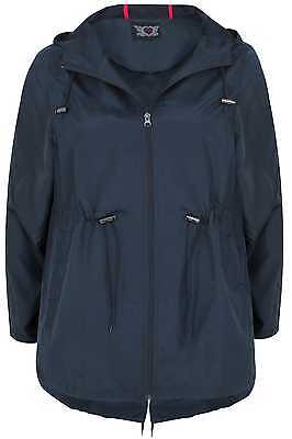 Womens Shower Resistant Pocket Parka Jacket With Hood Plus Size 16 To 36