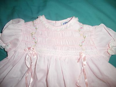 Carousel Hand Smocked Toddler Baby Dress PINK EUC size 12 Months 1960 s