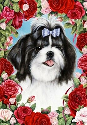 Garden Indoor/Outdoor Roses Flag - Black & White Shih Tzu 190111