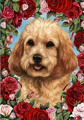 Garden Indoor/Outdoor Roses Flag - Buff Cockapoo 192611