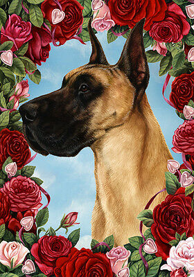 Garden Indoor/Outdoor Roses Flag - Fawn Great Dane 190201