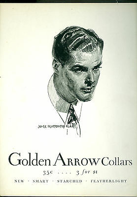 ad for Golden Arrow Collars-James Montgomery Flagg-business stand up display