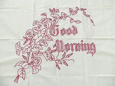 Vintage Red Work Embroidered Pillowcase Good Morning Pillow Cover B&B
