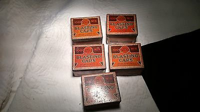 Lot of 5 vintage no. 6 blasting caps tin Atlas collectible tins