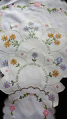 4  - Exquisite Vintage Hand embroidered doilies  absolutely charming