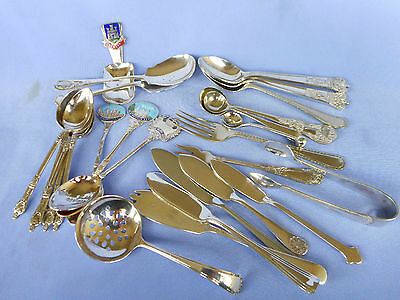 Medley Of Vintage Silver Plated Spoons , Forks And Sugar Tongs - Good Value