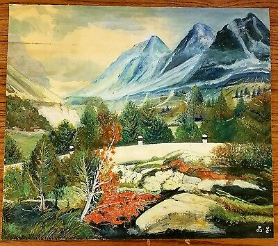 Early 1900's L.E. Signed Original Folk Art Primitive Painting On Paper Mountains