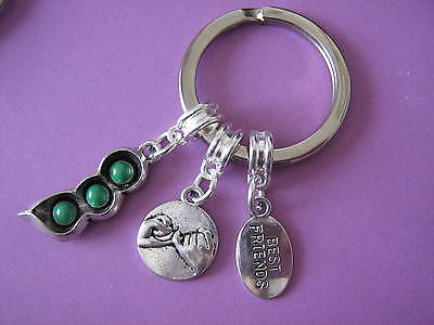 Best Friend Keyring Pea Pod Pinky Promise Charm Best Friends Keychain