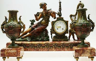 Huge Antique French 8 Day Metal & Marble Classical Lady Figural Mantle Clock Set