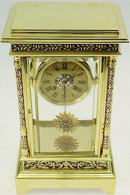 Stunning Large Antique 19thc French Bronze Champleve Enamel 4 Glass Mantel Clock