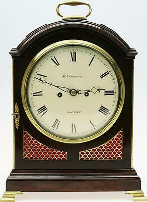 Antique Regency Mahogany & Brass English 8 Day Twin Fusee Verge Bracket Clock