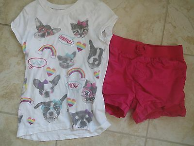 GUC Girls Childrens Place TCP Outfit Shirt Pink Shorts 6X 7 8