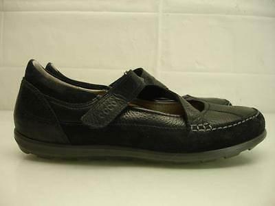 WOMENS 7 7.5 38 Ecco Cayla Leather Mary Jane Shoes Black