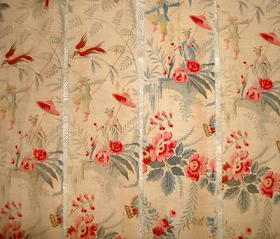 4 FRAGMENTS TIMEWORN 19th CENTURY FRENCH CHINOISERIE TOILE, BIRDS BUTTERFLIES