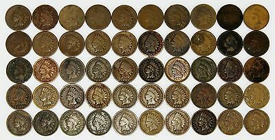 ( 50 ) Indian Head 1C Cent Coins - 1864 - 1909 - Mixed Dates