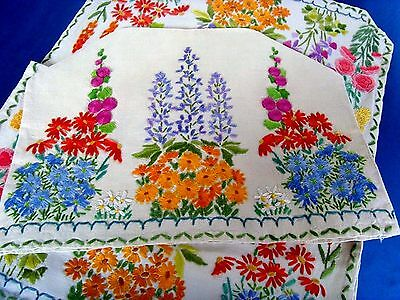Gorgeous Vintage Hand Embroidered Tablecloth & Tea Cosy Cottage Garden Flowers