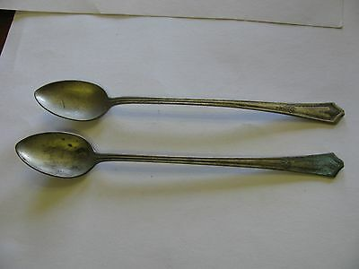 """Pair Vintage Silver Plate Iced Tea Spoons 7 1/2"""" R.c.c.o. Bouquet Nice Patina"""