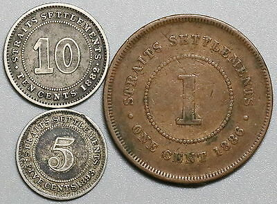 1886 1893 1882 STRAITS SETTLEMENTS 1c, 5c, 10c Key LOT of THREE (17032216R)