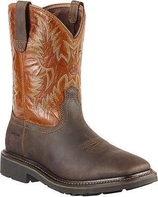 NEW Mens ARIAT SIERRA Brown Leather Wide Square Toe Western Work Boots 10010889