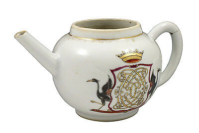 Fine 18th Century Antique Chinese Export Porcelain Armorial Teapot