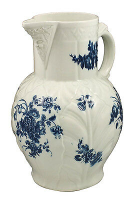 Extra Large 18th Century Dr. Wall Worcester Jug w/ Molded Face Under Spout