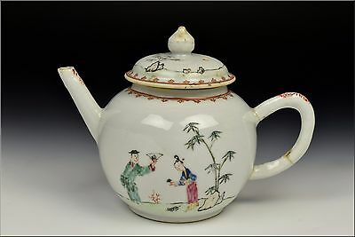 18th Century Chinese Export Porcelain Teapot w/ Character Scenes