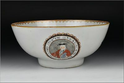 Rare Chinese Export Porcelain Bowl April 16, 1746 Victory at Culloden