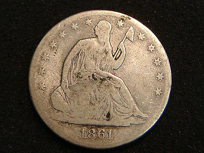 1861 Liberty Seated Half Dollar G+ details CIVIL WAR DATE