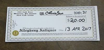 20 DOLLAR GIFT CERTIFICATE for ALLEGHENY ANTIQUES, 314 Second Ave Warren PA