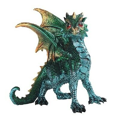 Green Dragon Medieval Fantasy Figurine Mythical Statue Sculpture Decoration New