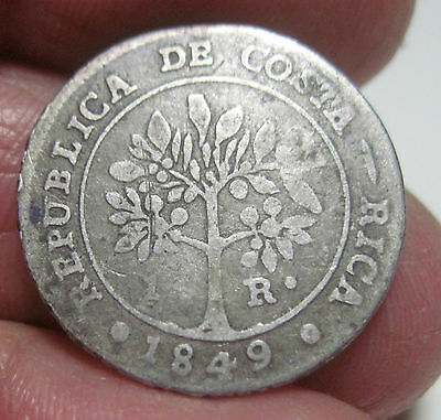 1849 JB(COSTA RICA) 1 REAL (SILVER) -- FAMALE / COFFEE TREE  --very scarce----