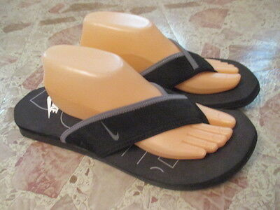 NIKE Mens Celso Thong Black Gray Swoosh Flip Flop Slip On Sandal Sz 12