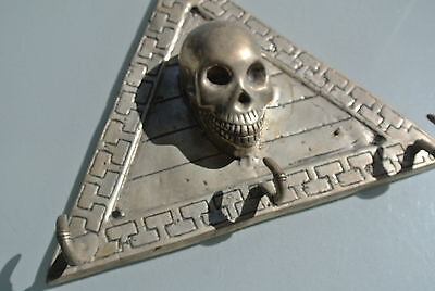 large SKULL HOOKS board solid BRASS old vintage look SCREW to wall  handle heavy