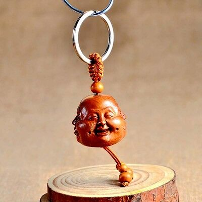 Wood Carved Chinese Feng Shui Geomancy Four Face Buddha Statue Key Chain Keyring