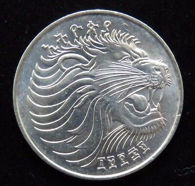 Bright Uncirculated 1977 Ethiopia 50 Cents Roaring Lion Coin Lot 591